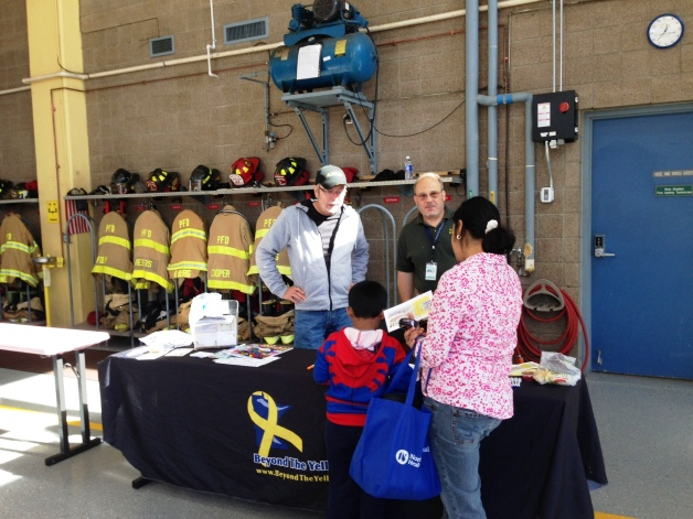 PBYR - Vance Harris, Gary Goldetsky and a Plymouth family at the PBYR booth at the Fire Department's open house on Oct 10, 2015x