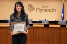Mayor Slavik proudly displays the 5 Year appreciation award received from General Nash and the BYR program. This award will be placed in a glass case at Plymouth City Hall.