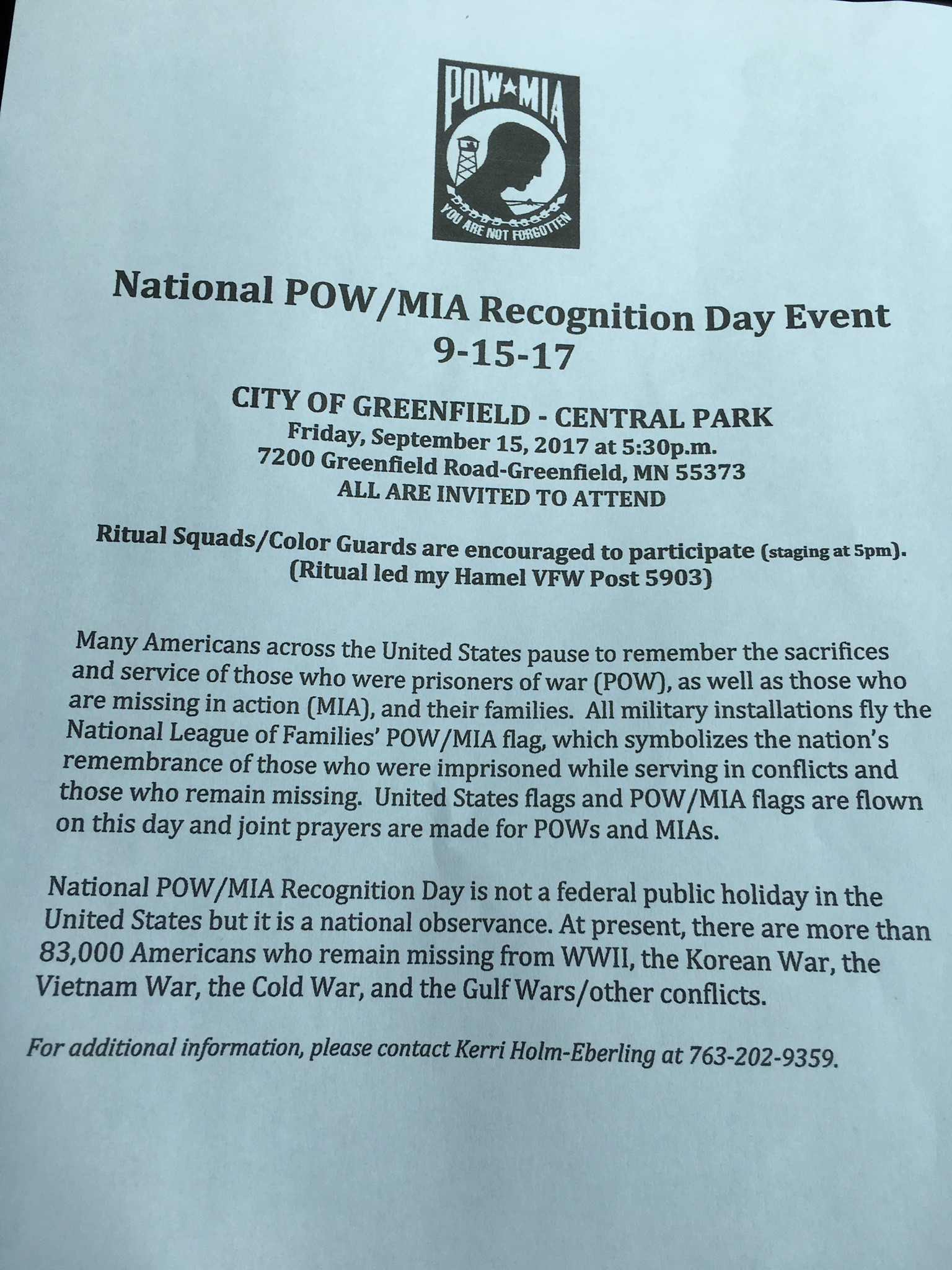 National Pow Mia Recognition Day Event September 15