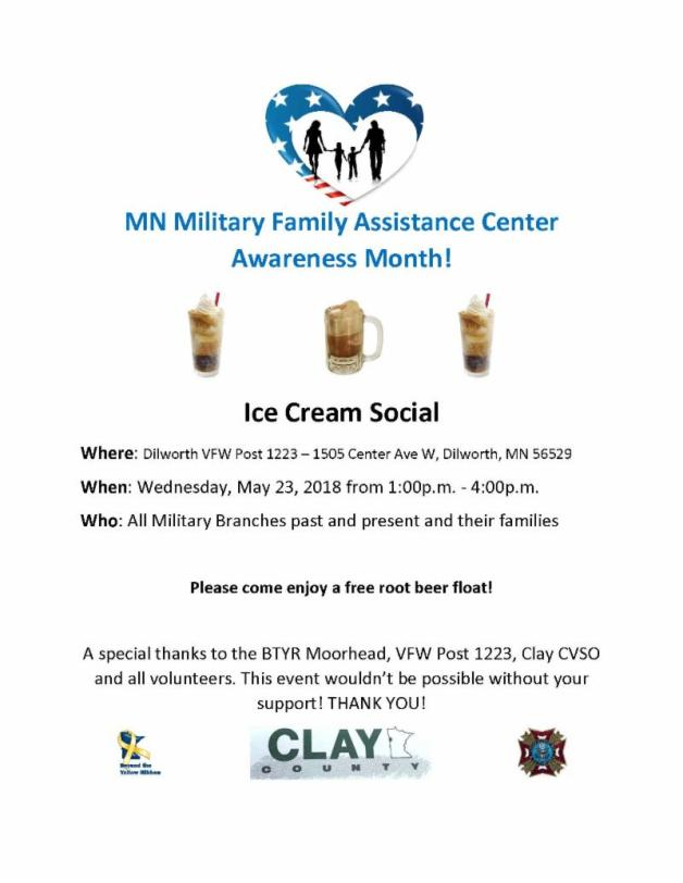 MN Military Family Assistance Center Awareness Month -Ice Cream Social