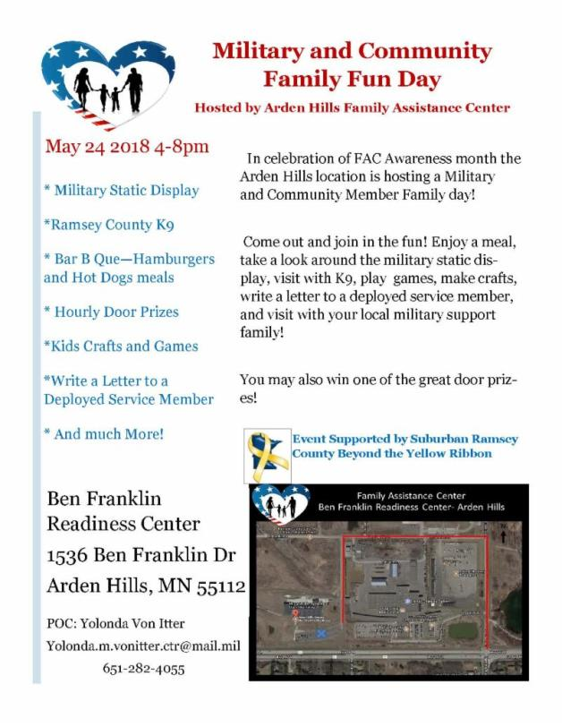 Community and Military Family Event flyer - Arden Hills FAC