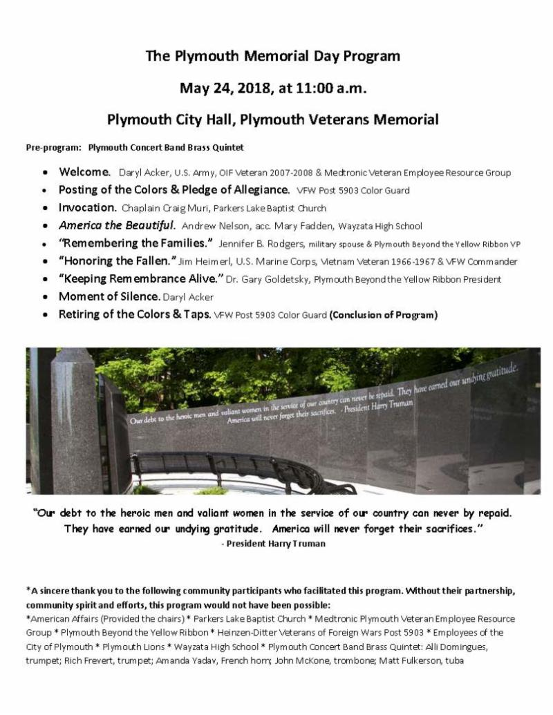 Plymouth Memorial Day Program 2018