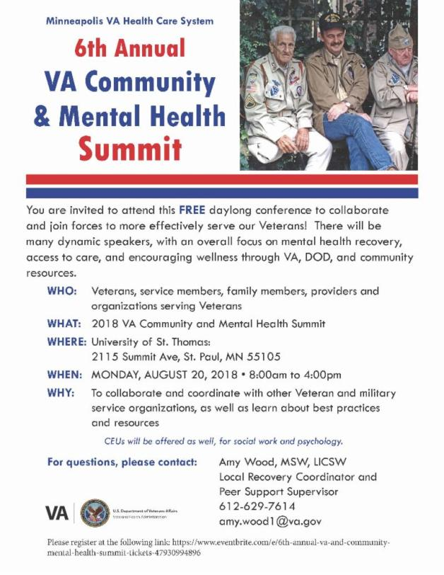 VA Mental Health Summit 2018 flier
